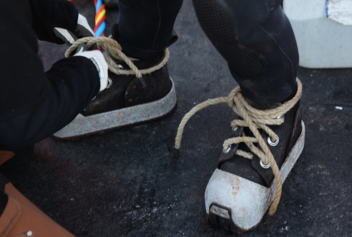 These mafia shoes weigh nine kilos each, perfect for walking on the Barents seabed © Karoline Hjorth & Riitta Ikonen