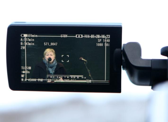 Erna on air (Karoline's tele lens wasn't powerful enough, but she got to borrow the Russian cameraman's display © Karoline Hjorth & Riitta Ikonen